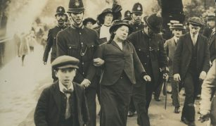 2 June 2018 - 3 February 2019, Represent! Voices 100 Years On exhibition @ People's History Museum. Suffragette arrested near Buckingham Palace, around 1914 © People's History Museum