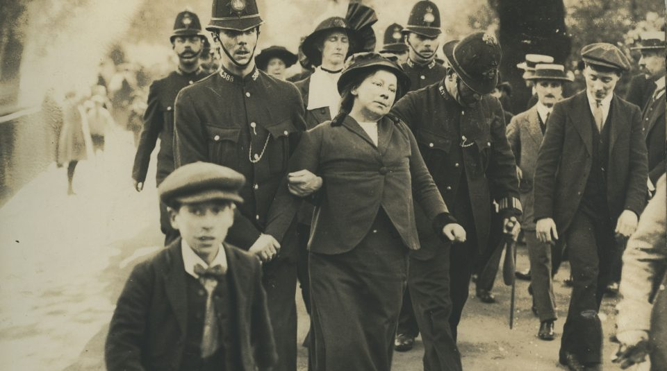 Suffragette arrested near Buckingham Palace, around 1914 © People's History Museum