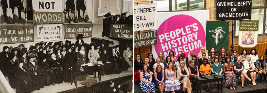 From left to right: Black Friday 1910 © Museum of London and #Black Friday 1910 opening Represent! Voices 100 Years On exhibition @ People's History Museum