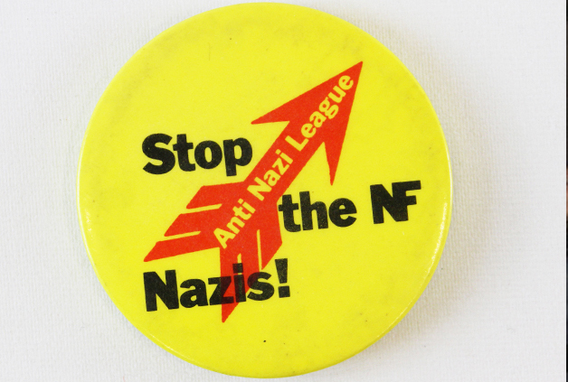 5 October to 2 November 2018, WEA Course, A History of Opposition to Fascism @ People's History Museum. Anti Nazi League badge, around 1970s