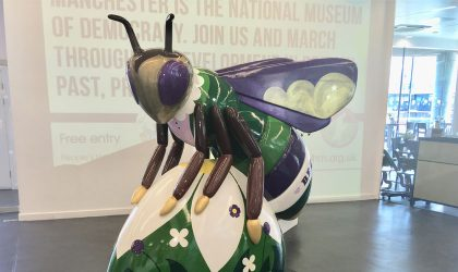 Sylvia Pankhurst Big Bee sculpture @ People's History Museum, part of Bee in the City trail, Manchester. Sponsored by UNISON Manchester and UNISON North West, designed by Sneaky Raccoon
