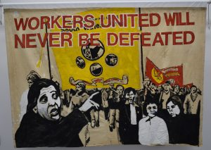 Grunwick Strike Committee banner, around 1976, from People's History Museum's collection