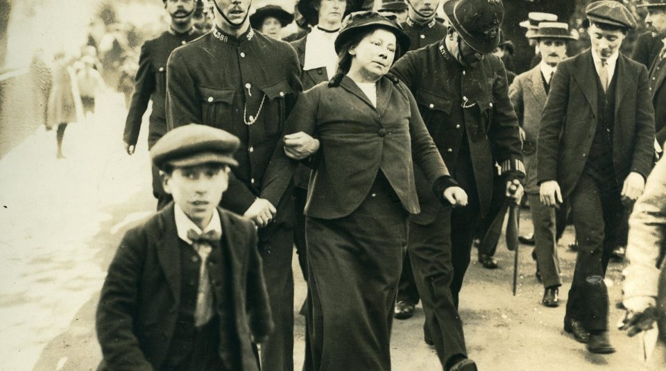 8 November 2018, How To Be WomanLeigh @ People's History Museum. Suffragette being led away from Buckingham Palace, around 1914