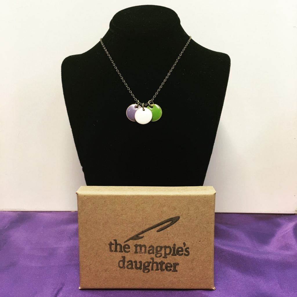 The Magpie's Daughter suffragette inspired necklace