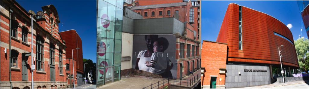 From left to right: People's History Museum, Axel Void, Peterloo. mural, 2018 and People's History Museum entrance