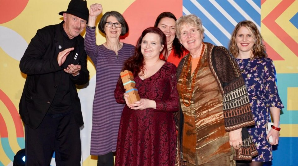 Urban Splash Director Tom Bloxham, PHM's Deputy Director Cath Birchall, Director Katy Ashton, Head of Collections & Engagement Jenny Mabbott, Community Curators Heather Davidson and Vivien Walsh at Manchester Culture Awards 2018