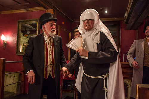 Left to right: John Smeather as the Emcee and Alan Beck as Sister Mercy in the production of A Very Victorian Scandal © N Chinardet