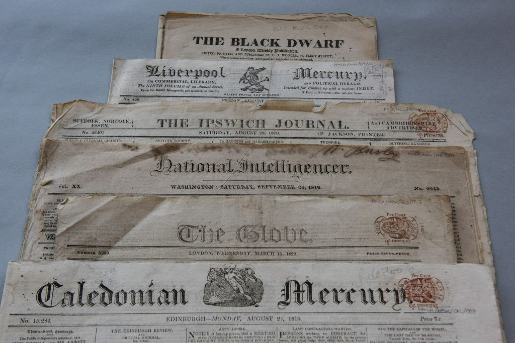 Newspapers Peterloo 1819 Labour History Archive & Study Centre @ People's History Museum