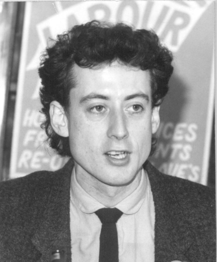 Peter Tatchell at a press conference in 1983 © Peter Tatchell