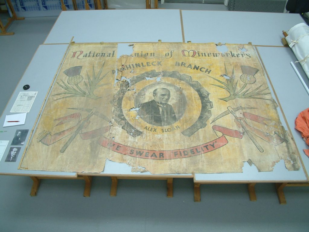 National Union of Mineworkers (NUM) Achinleck branch banner face side before conservation