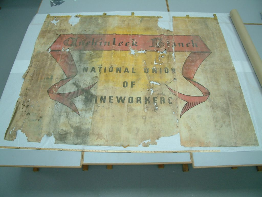 National Union of Mineworkers (NUM) Achinleck branch banner reverse side before conservation