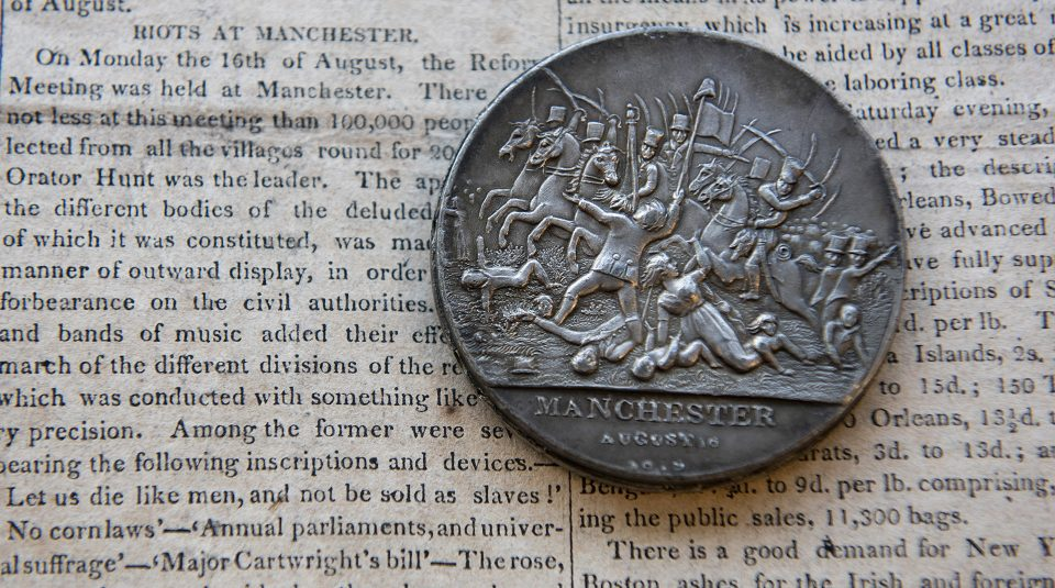 1819 newspaper and Peterloo commemorative medal © People's History Museum
