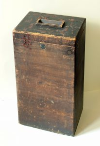Pontefract secret ballot box, painted wood and iron alloy, August 1872, courtesy of Wakefield Council
