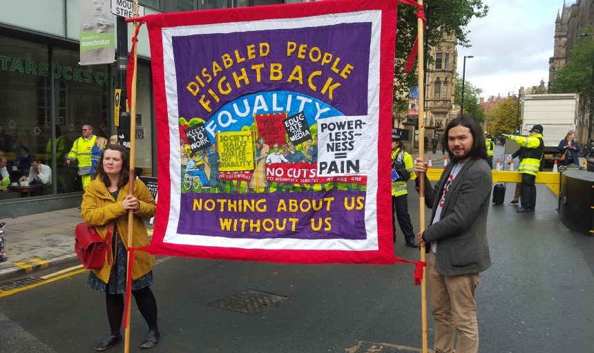5 April - 5 May 2019, Nothing About Us Without Us exhibition @ People's History Museum. Disabled People Fight Back banner by Ed Hall, Manchester, 2015 © GMCDP