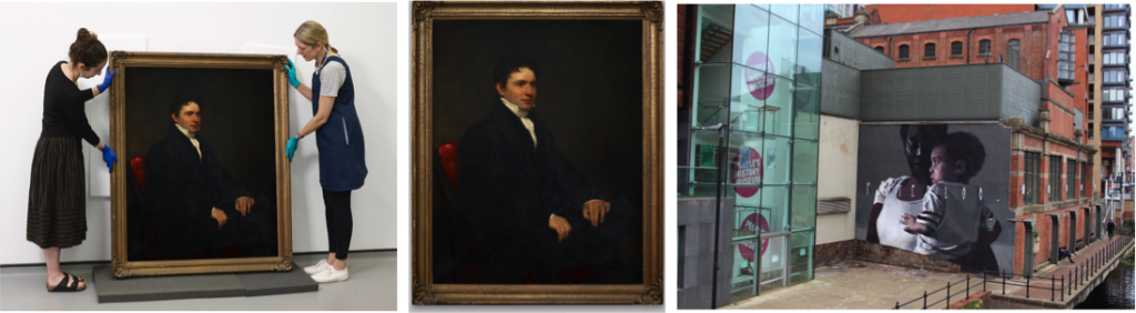 Left to right: People's History Museum Conservators with Hugh Hornby Birley portrait, Hugh Hornby Birley portrait, oil paint on canvas, date unknown, and Axel Void, Peterloo. mural, 2018 © People's History Museum