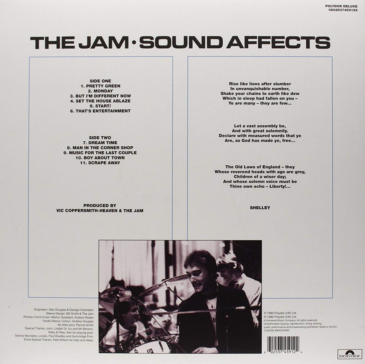The Jam, Sound Affects album 1980. Back cover of record sleeve
