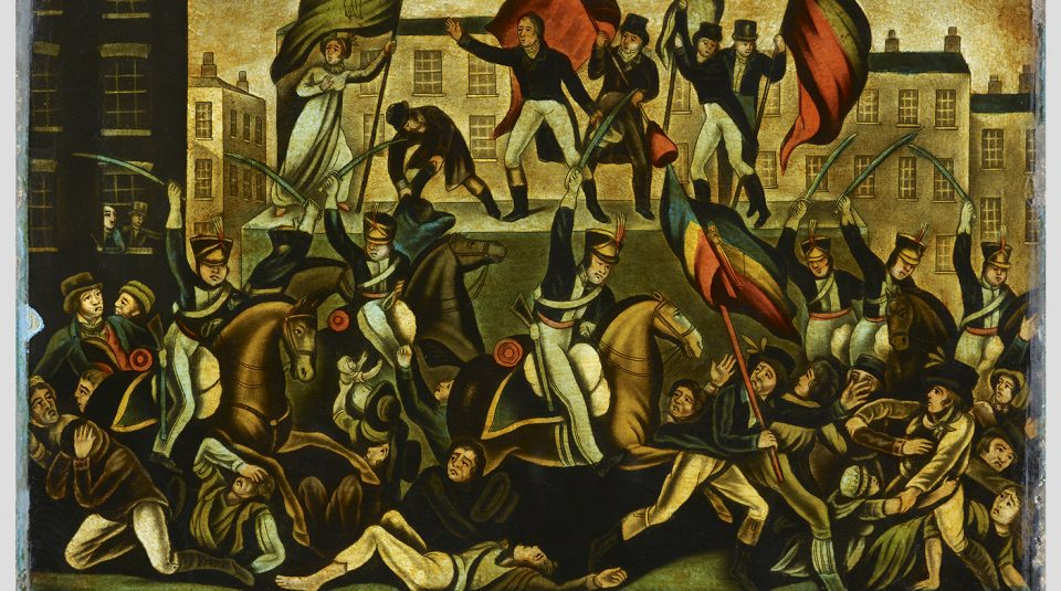 23 March 2019 - 23 February 2020, Disrupt? Peterloo and Protest exhibition @ People's History Museum. Peterloo Massacre 1819, commemorative glass