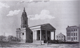 St Peter's Church, Manchester a guide by Clare Hartwell, engraving by J Fothergill, c1820
