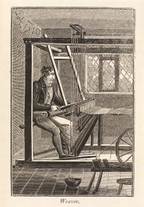 Handloom weaver from The Book of English Trades, and Library of the Useful Arts, 1824. Science Museum Group Collection © The Board of Trustees of the Science Museum