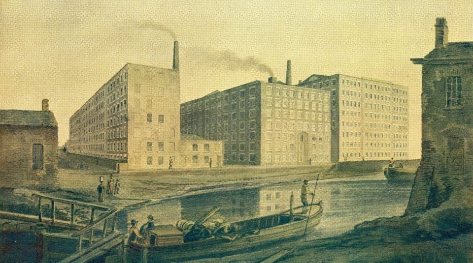 Spinning mills on Union Street in Ancoats, around 1820. Science Museum Group Collection © The Board of Trustees of the Science Museum