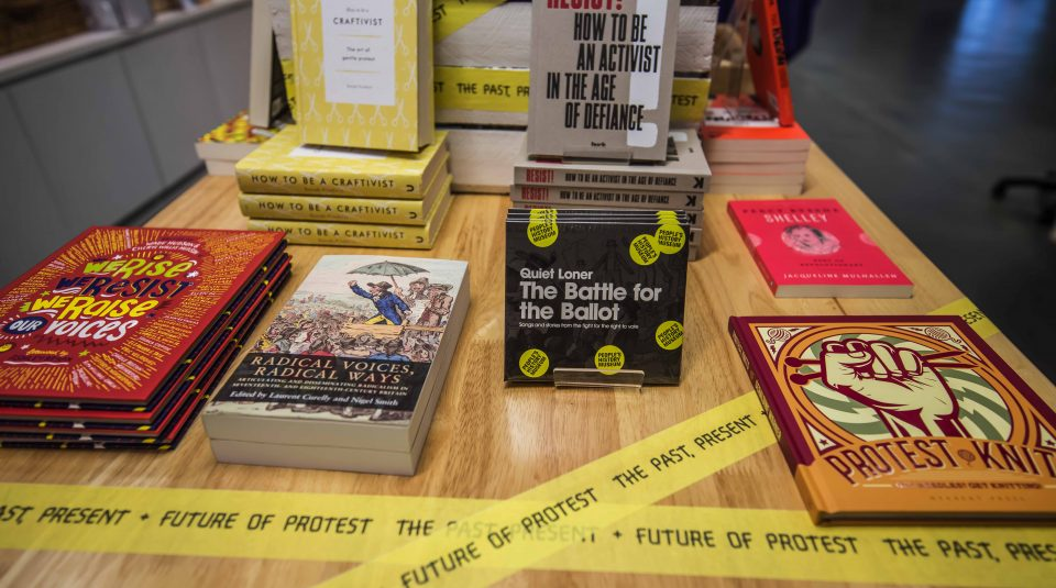 The Past, Present + Future of Protest merchadise display @ PHM shop
