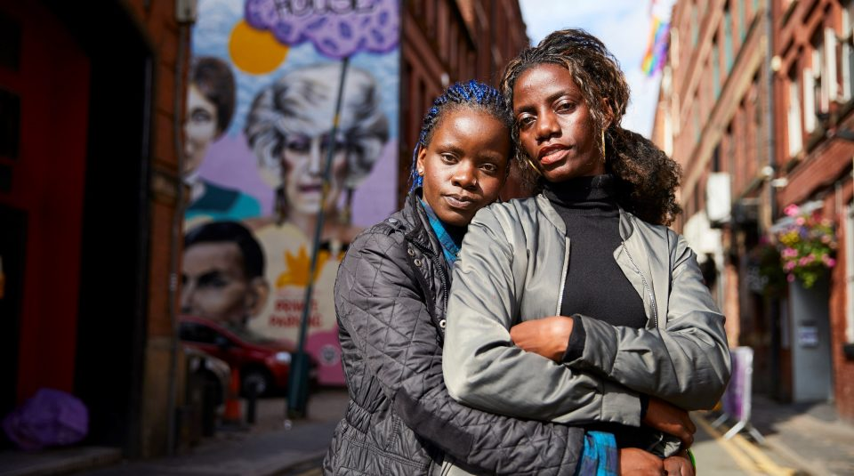 23 June 2019, This Is Who I Am @ People's History Museum. Megan Nankabirwa (left) and her partner Lydia Nabukenya (right), Manchester's Gay Village © Christopher Thomond for The Guardian.
