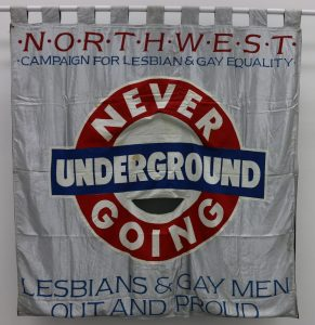 Never Going Underground banner, 1988, copyright People's History Museum