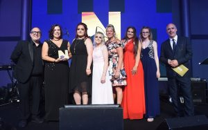 Happy and Proud project, the girls receiving the Northern Housing awards trophy in Manchester 23rd May 2019