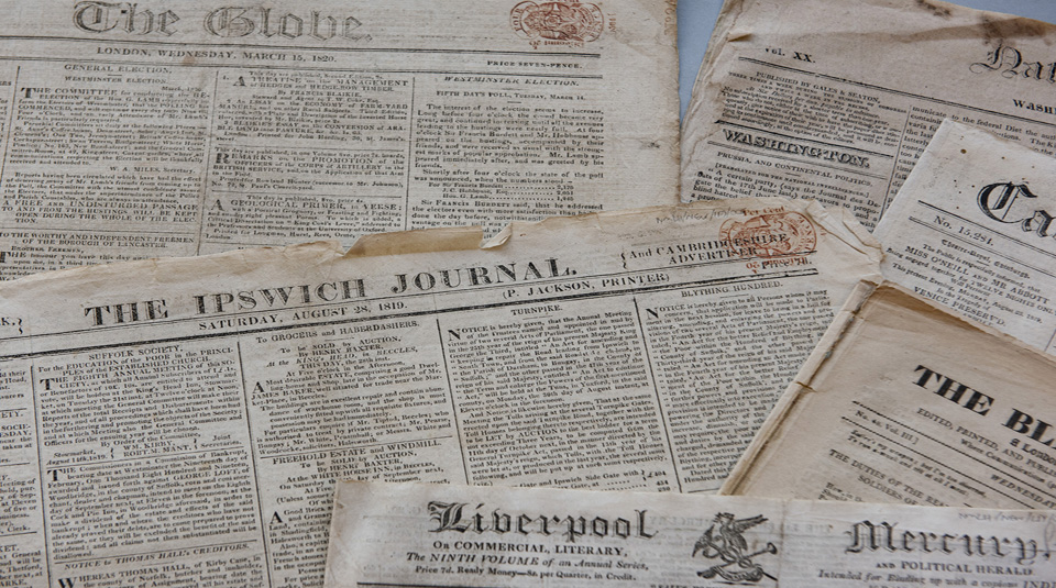 Selection of newspapers, Peterloo Massacre coverage, Labour History Archive & Study Centre @ People's History Museum