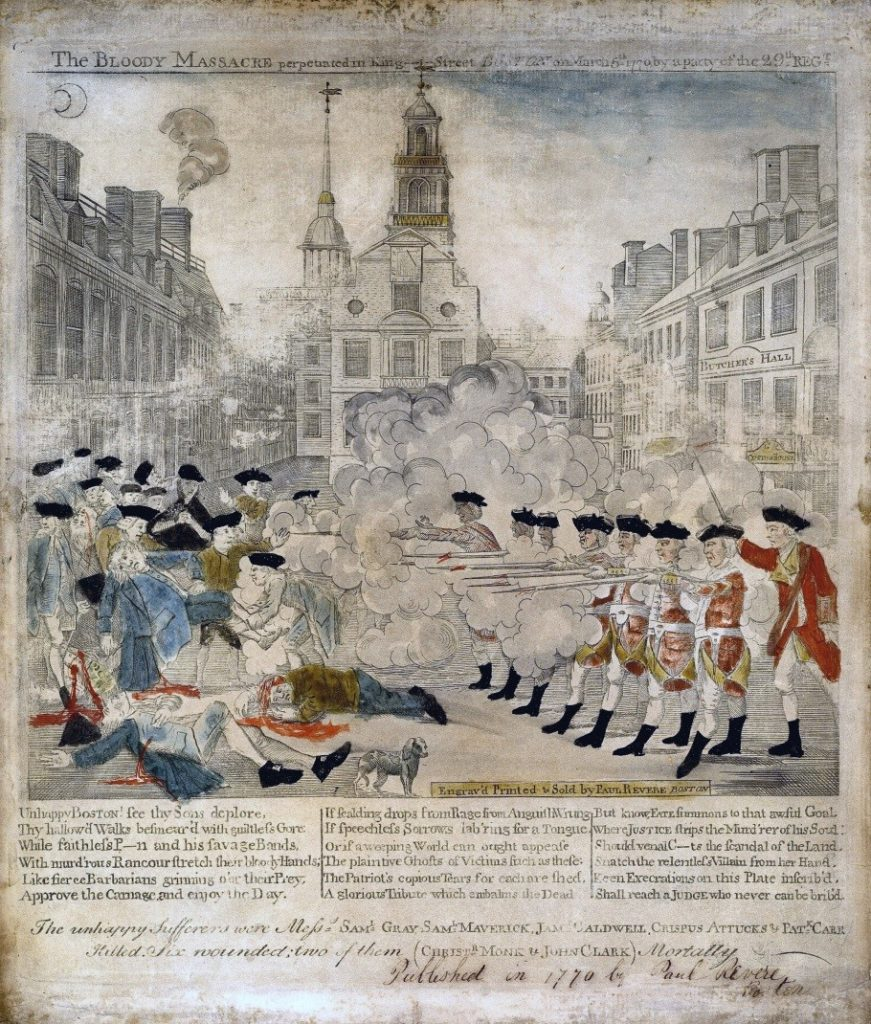"""The bloody massacre perpetrated in King Street Boston on March 5th 1770 by a party of the 29th Regt."", engraving by Paul Revere after Henry Pelham, 1770; Library of Congress, Washington D.C."