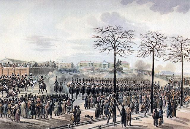 Decembrists in Senate Square, St. Petersburg, 26 December 1825, Karl Kolman around 1830, watercolour, Pushkin State Museum of Fine Arts, St. Petersburg