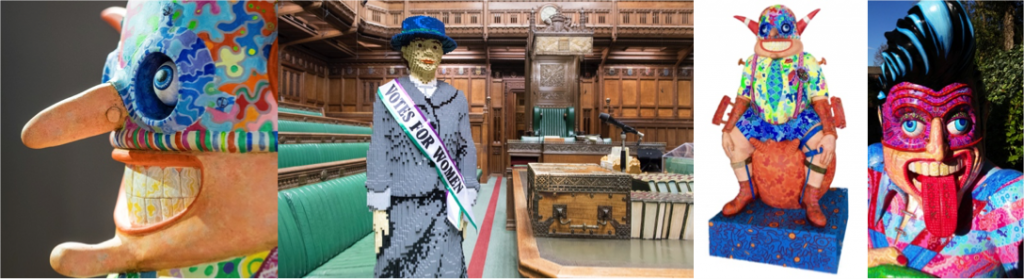 From left to right Brave Boy Billy by Jason Wilsher Mills , Hope LEGO suffragette on loan from House of Commons, Brave Boy Billy and The Corby Rocker by Jason Wilsher Mills