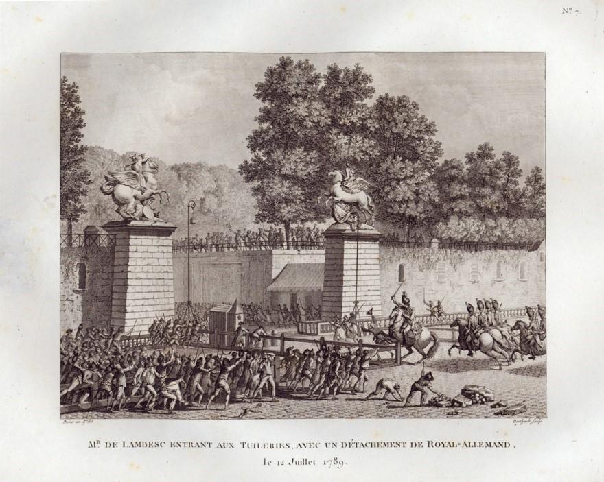 M. de Lambesc entering into the Tuileries, with a squadron of the Royal Allemand, 12 July 1789, engraving by Pierre Gabriel Berthault, after Jean Louis Prieur, 1789; Musée de la Révolution