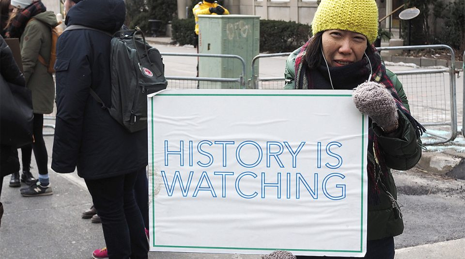 23 October 2019, Protest and Archive Conference @ People's History Museum. History Is Watching You, pro-immigration protest in downtown Toronto, 2017 © Jeff Bowen