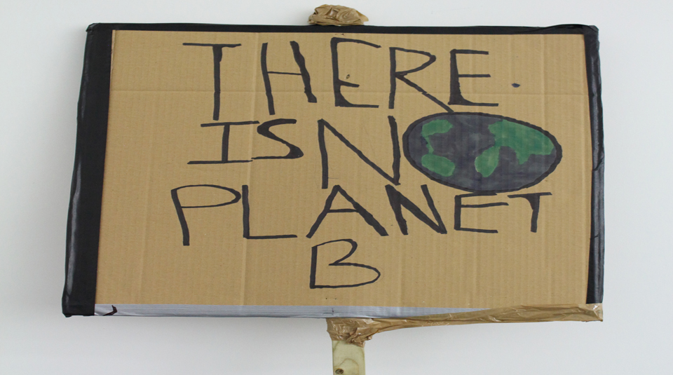 'There Is No Planet B' placard (front side), from schools strike for climate, Manchester, 15 February 2019. Image courtesy of People's History Museum