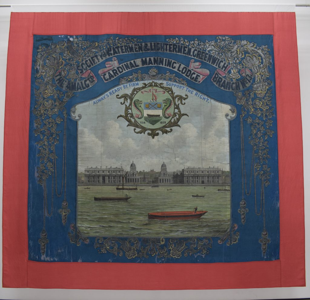Amalgamated Society of Watermen & Lightermen Greenwich Branch No 13 Cardinal Manning Lodge banner (reverse) © People's History Museum