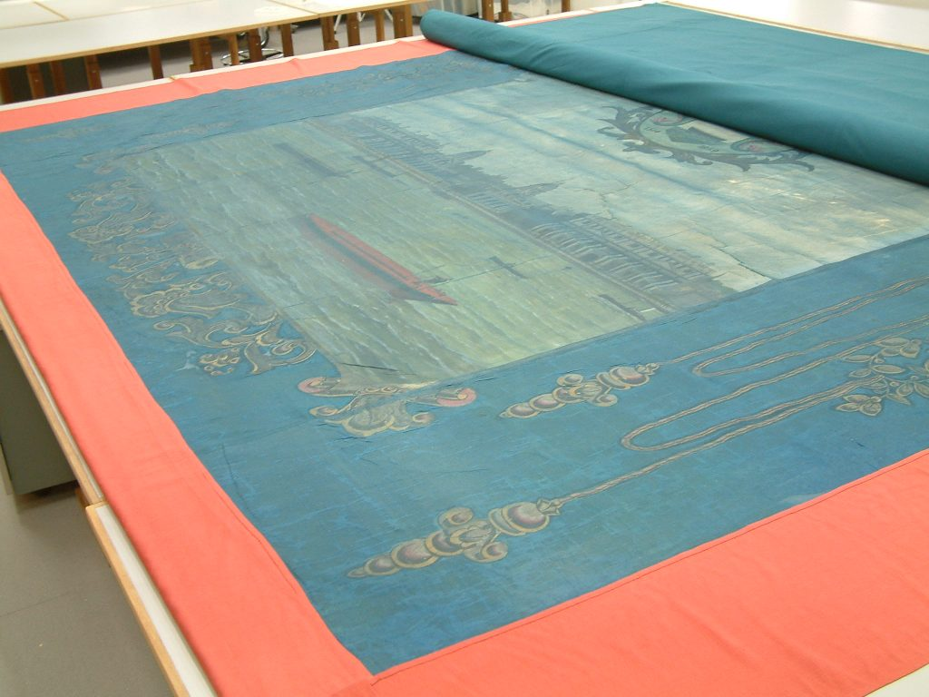 Amalgamated Society of Watermen & Lightermen Greenwich Branch No 13 Cardinal Manning Lodge banner (reverse before conservation) © People's History Museum
