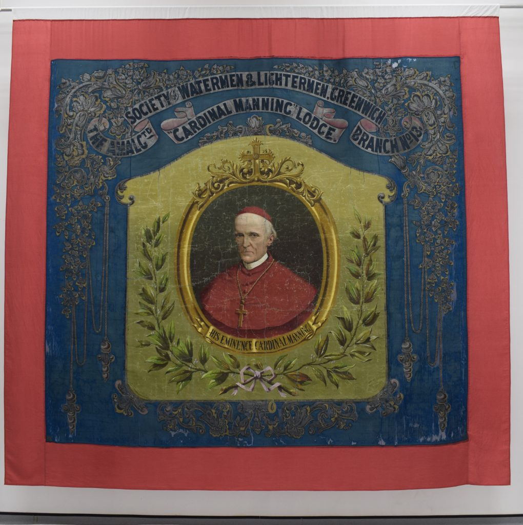 Amalgamated Society of Watermen & Lightermen Greenwich Branch No13 Cardinal Manning Lodge banner (Front) © People's History Museum