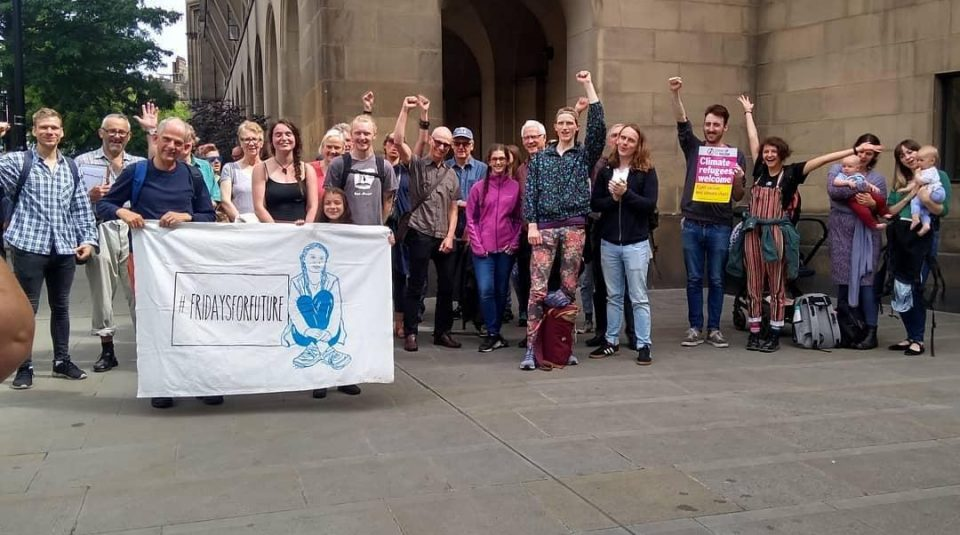 Lillia and members of Fridays For Future Manchester, Extinction Rebellion and other environmental groups, 10 July 2019 © @lilliasworld