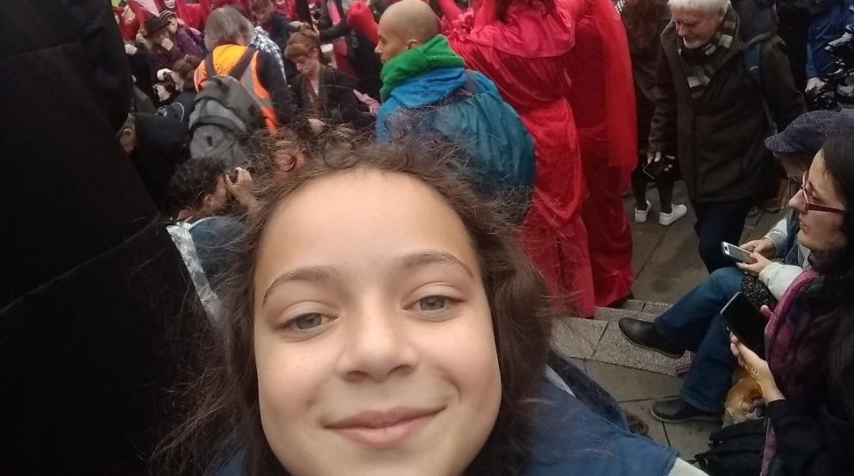 Lillia at a protest around Bank and City of London, calling for the need to end ecocide, 14 October 2019 © @lilliasworld