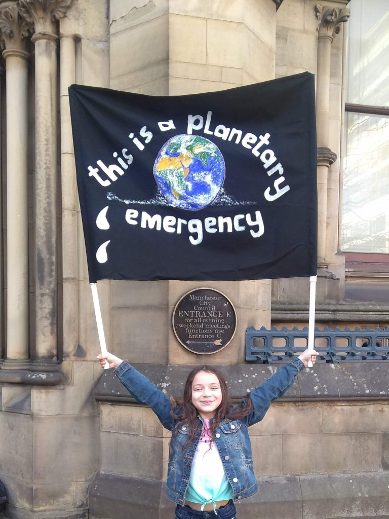 Lillia outside Manchester Town Hall with Fridays For Future Manchester, February 2019 © @lilliasworld