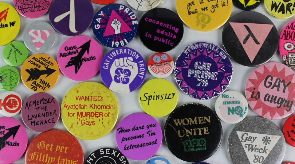 8 February 2020, OUTing the Past. LGBT+ badge collection © People's History Museum