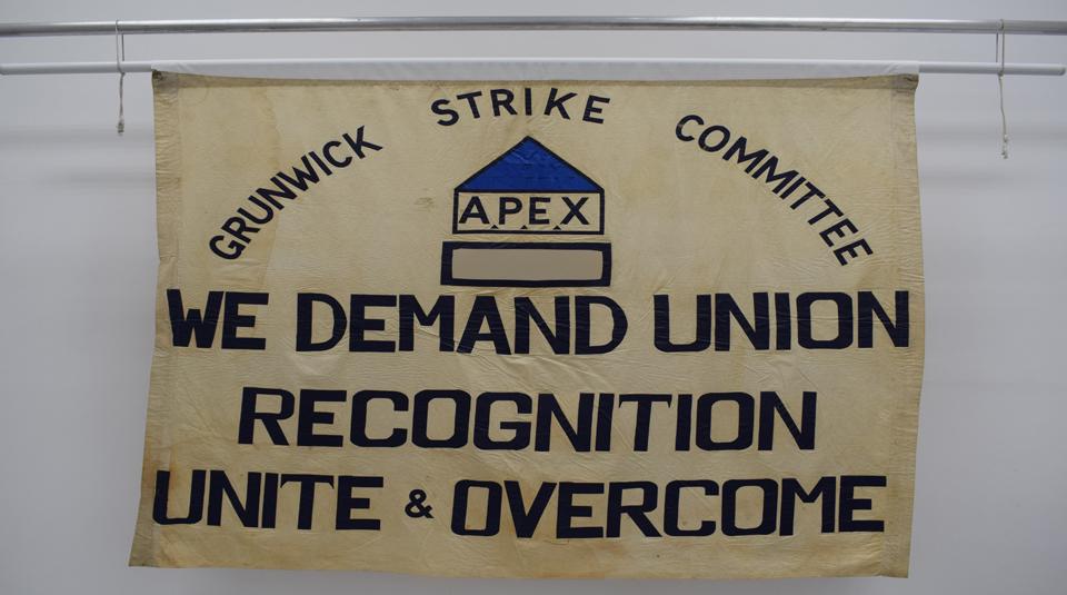 Grunwick Strike Committee banner, 1976 © People's History Museum