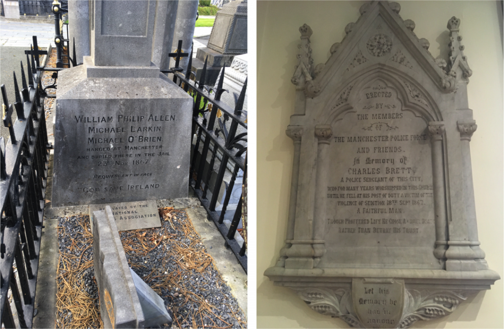 Left to right Memorial to the executed Fenians in Glasnevin Cemetery in Dublin and memorial to Police Sergeant Charles Brett, St Ann's Church, Manchester © Peter Morgan