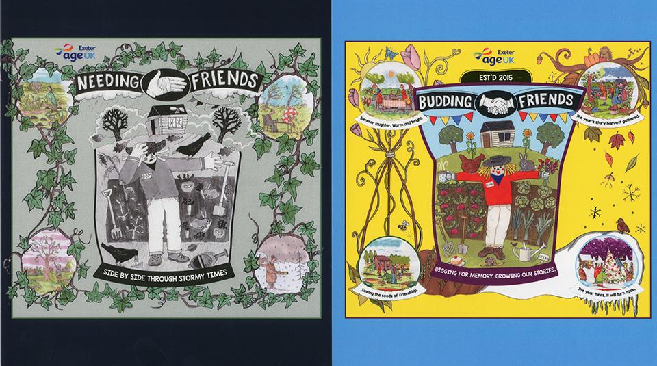 16 December 2019 - 19 January 2020, The Unfurlings - a banner display @ People's History Museum. Budding Friends banner © Ian Beesley, Tony Husband & Ian McMillan