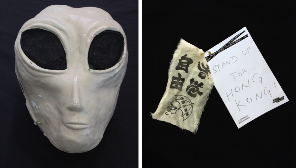 Alien Anthropologist mask & Hong Kong pro-democracy fabric patch