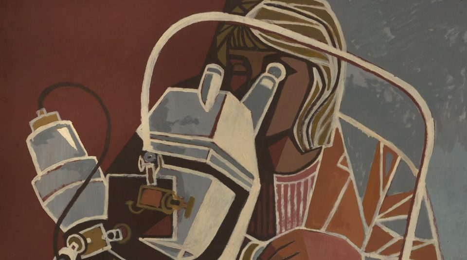 Cliff Rowe painting, Woman Looking Through a Microscope, 1966 © People's History Museum