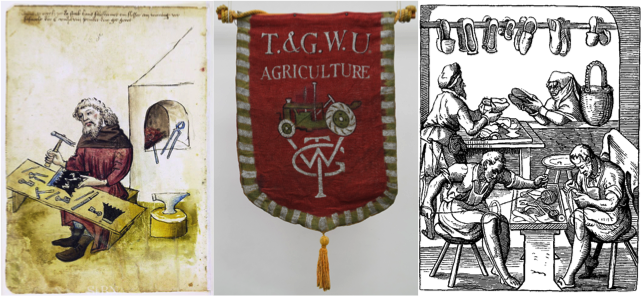 Left to right - 14th century locksmith, anonymous, Hausbuch der Mendelschen Zwölfbrüderstiftung, Band 1 Nürnberg 1426–1549 Stadtbibliothek, TGWU banner, early 1980s and and Stadtbibliothek Nürnberg and Shoemakers, 1568 © Das Ständebuch (The Book of Trades)
