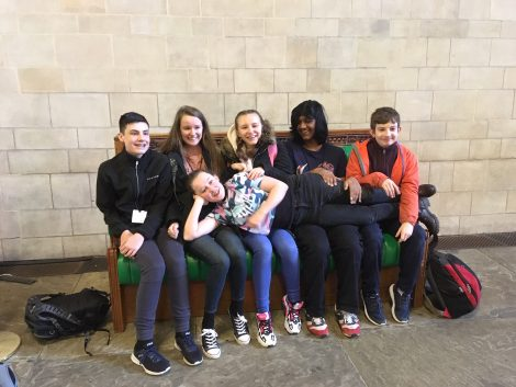 Left to right - Vital Voters vloggers Jonah, Kayleigh, Rhiannon, Ellie, George and Sam © People's History Museum