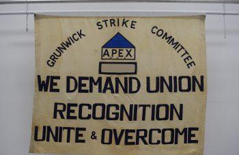 Grunwick Strike Committee banner, 1976 at People's History Museum